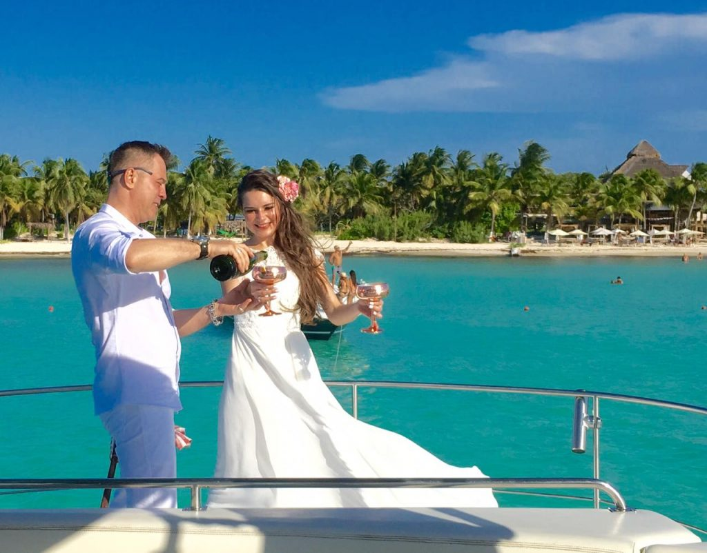 Wedding on yacht front of  Isla Mujeres North Beach