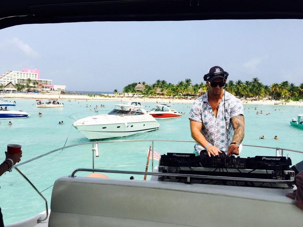 DJ aboard for wedding party